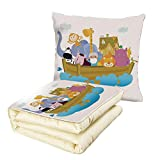 iPrint Quilt Dual-Use Pillow Religious Religious Story The Ark with Set of Animals in The Boat Journey Faith Cartoon Multifunctional Air-Conditioning Quilt Multicolor