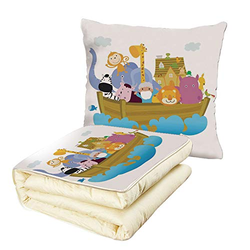 iPrint Quilt Dual-Use Pillow Religious Religious Story The Ark with Set of Animals in The Boat Journey Faith Cartoon Multifunctional Air-Conditioning Quilt Multicolor by iPrint