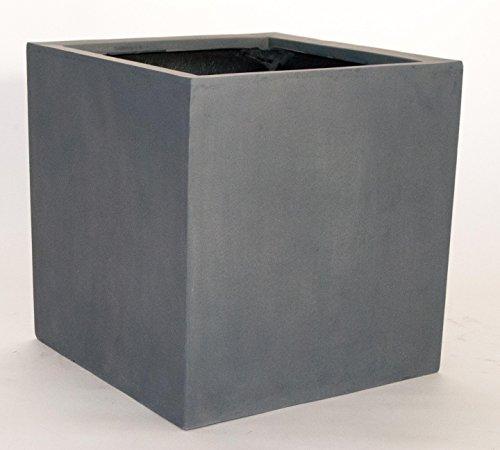 Blumenkübel Fiberglas quadratisch 50x50x50cm grau.
