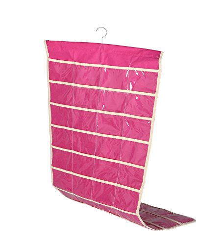 "OUR Fashion Ohlily Wall Hanging Jewelry Organizer Holder 80 Pockets Double Sided Storage (18"" W35 H, Pink)"