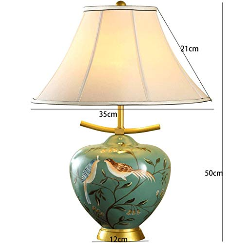 AOLI Table Lamp Chinese Ceramic Table Lamps, Bedroom Bedside Living Room, Hand-Painted Motifs, Modern Luxury, Green Color