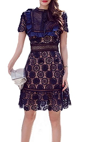 celebritystyle Embroidered Dress Blue Lace See Measurement (XXS) Bcbg Lace Dress