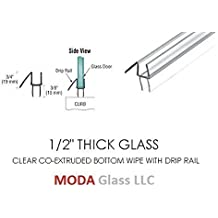 "1/2"" Frameless Glass Shower Door Sweep - Bottom Seal - Wipe - Drip Rail - 32"" - FREE SHIPPING - We Ship Within 24 Hours"