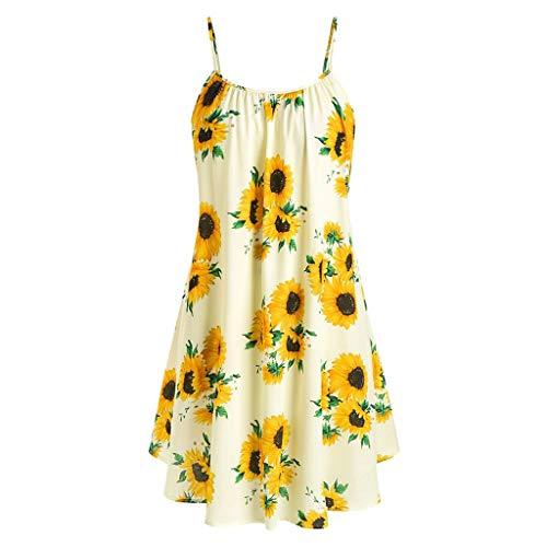 MILIMIEYIK Blouse Clothes Fashion Dress & Tops, Women Sexy V-Neck Sleeveless Sling Dot Printed Ruffled Hem Loose Mini Dress ()