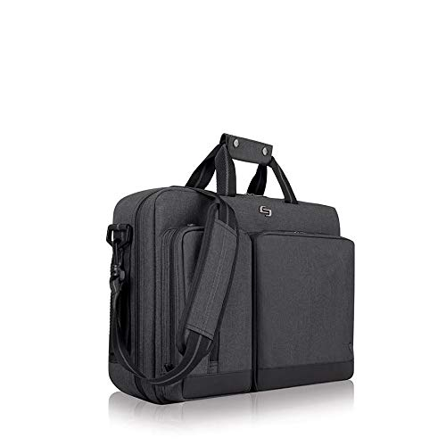 Solo Duane 15.6 Inch Laptop Hybrid Briefcase, Converts to Backpack, Grey - Leather Tech Backpack