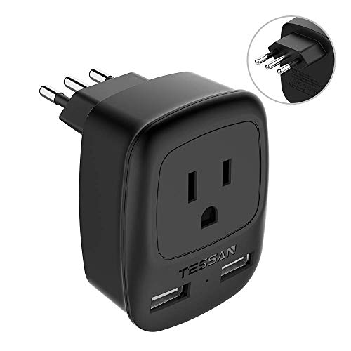 Electrical Plug Types - Italy Power Adapter Type L, TESSAN US to Italy Plug Adapter, Italy Travel Adapter with 2 USB Ports, Electrical Adapters for Italy Outlet Plug Adapter for Italy Uruguay Chile Rome