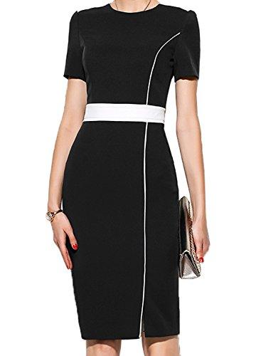 WOOSUNZE Women's Short Sleeve Colorblock Slim Bodycon Business Pencil Dress (Small, Black)