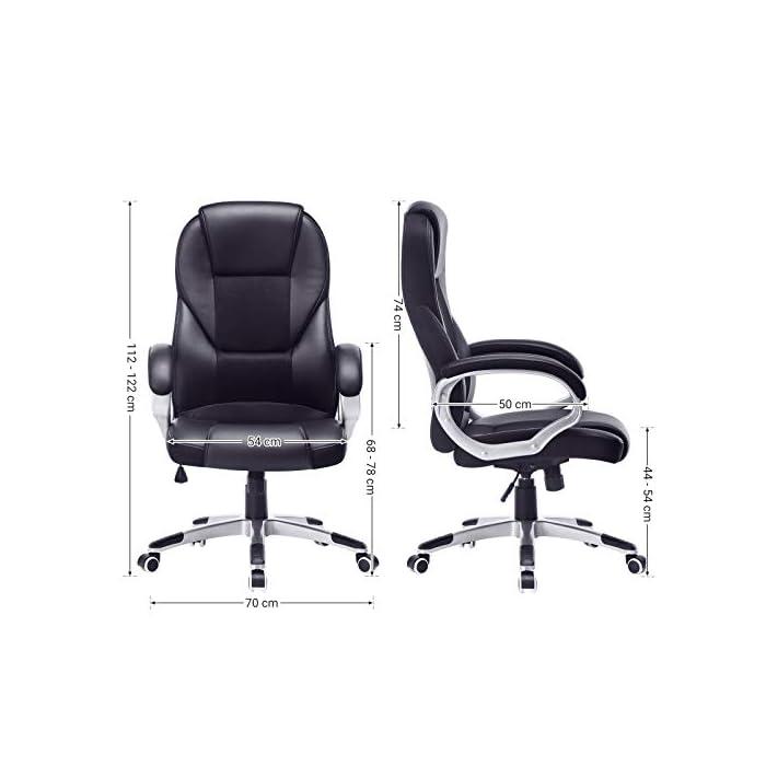 41vFEUgoaJL Alta estabilidad y larga duración: las partes importantes (como reposabrazos, ruedas, resortes de gas, etc.) han sido mejoradas y han superado la BIFMA (BIFMA). Con un diámetro de la base en cruz de aprox. 70 cm garantiza una excelente estabilidad y verificado por SGS. La silla de oficina es resistente y duradera. Máx. Capacidad de carga: 150 kg. Altura total: 112-122 cm. Altura del respaldo: aprox. 74 cm. Ancho del asiento: aprox. 54 cm. Profundidad: aprox. 50 cm. Altura del asiento regulable: aprox. 44-54 cm. Altura desde el reposabrazos hasta el suelo: aprox. 68-78 cm. Diámetro de la base: aprox. 70 cm. Material de alta calidad: la superficie de poliuretano de alta calidad es agradable al tacto y fácil de limpiar. El acolchado extra grueso permite un confort óptimo y promete una buena elasticidad y un mejor ajuste. No se deforma fácilmente.