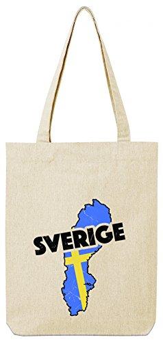 Sverige Sweden Fußball WM Fanfest Gruppen Premium Bio Baumwoll Tote Bag Jutebeutel Stanley Stella Land Schweden Natural