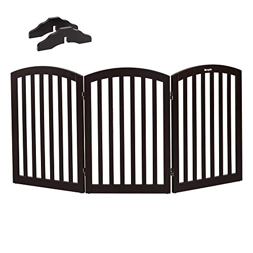"(Bonnlo Free Standing 30"" Tall Dog Gates for Doorways Indoor Stairs Wooden 3 Panel Pet Gate 