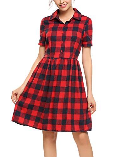 Women Dashiki Short Sleeve Dress Red - 5