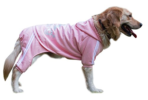 [Scheppend Adidog Large Dog Hoodies Sweatshirt Pet Winter Coat Sports Clothes Apparel,Pink 6XL] (Dog Outfits For Christmas)