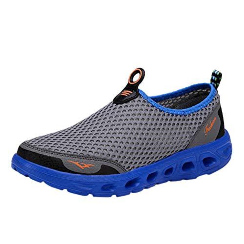 HULKAY Men's/Women's Quick Drying Aqua Water Shoes丨Summer Beach Shoes丨Breathable Non-Slip Diving Shoes for Men/Women(Gray,Mens/US:7/CN:39)