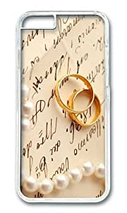 MOKSHOP Adorable Gold Wedding Rings Hard Case Protective Shell Cell Phone Cover For Apple Iphone 6 Plus (5.5 Inch) - PC Transparent