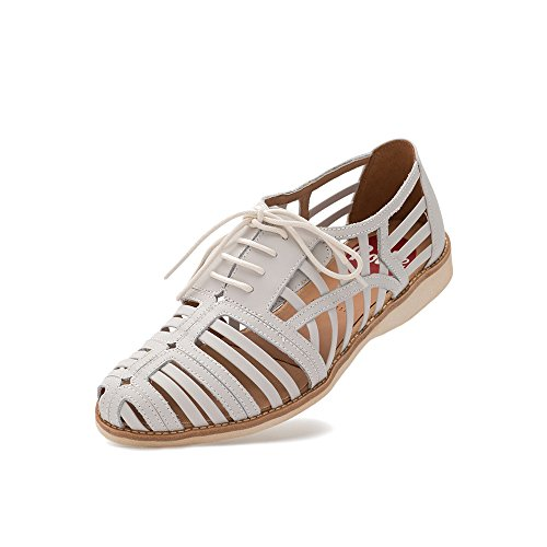 Rollie Women's Derby Cage White, Combination Leather Sandals White Flat Sandals for Women, Size 9 US / 40 EU