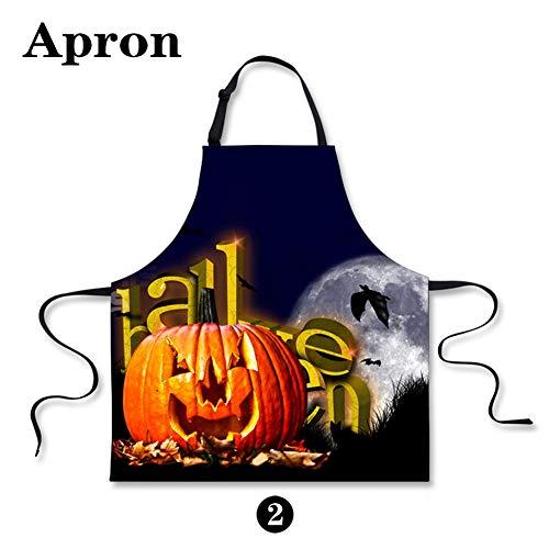 HUGS IDEA Creative Pumpkin Lantern Print Aprons for Mens Women Body Adult Halloween Apron for Kitchen Bar Garden for $<!--$12.49-->