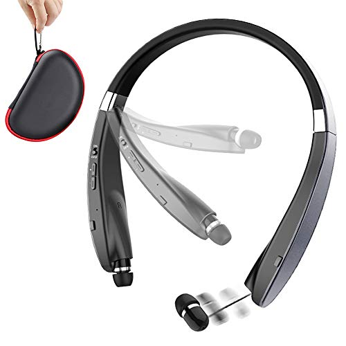 Foldable Bluetooth Headset, Beartwo Lightweight Retractable Bluetooth Headphones for Sports&Exercise, Noise Cancelling Stereo Neckband Wireless Headset (with Carry case) (Best Sweat Proof Bluetooth Headphones)
