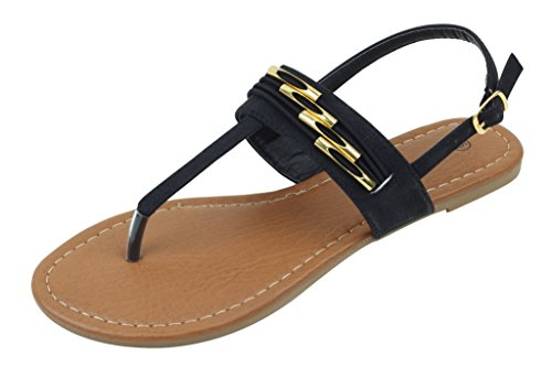 Shoes 18 Womens Roman Gladiator Sandals Flats Thongs 2 Buckle Shoes 4 colors (7, 182230 Black) (Shoes Roman Sandals)