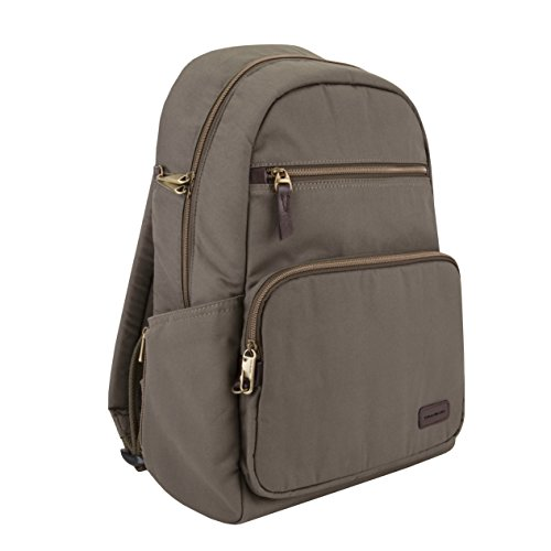 41vFGia0YpL - Travelon Anti-Theft Courier Slim Backpack, Stone Gray, One Size
