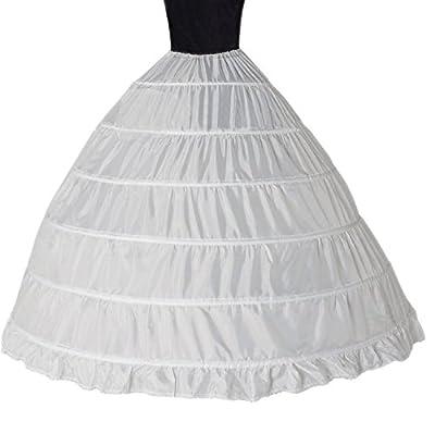 Women 6 Hoops Crinoline Petticoats Slips Underskirt Floor Length for Bridal Gown