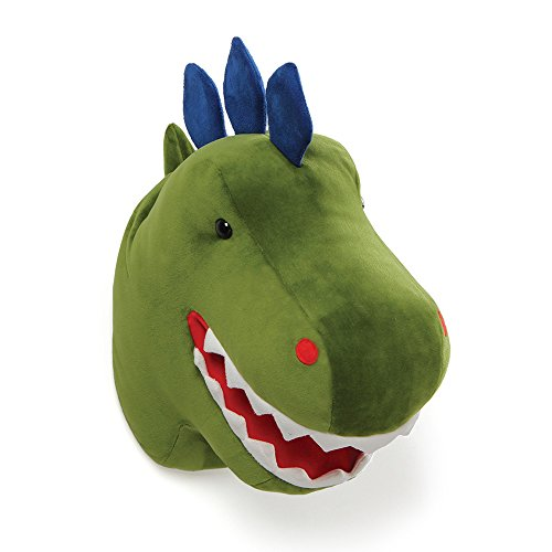 GUND Chomper Plush Dinosaur Head Stuffed Animal Hanging Wall Décor, Green, 15