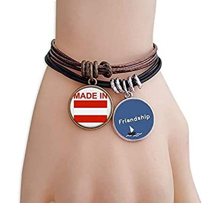 YMNW Made Austria Country Love Friendship Bracelet Leather Rope Wristband Couple Set Estimated Price -