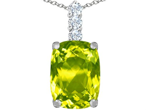 Star K Large 14x10mm Cushion Cut Simulated Peridot and Cubic Zirconia Pendant Necklace Sterling Silver (Round Cut Pendant Peridot)
