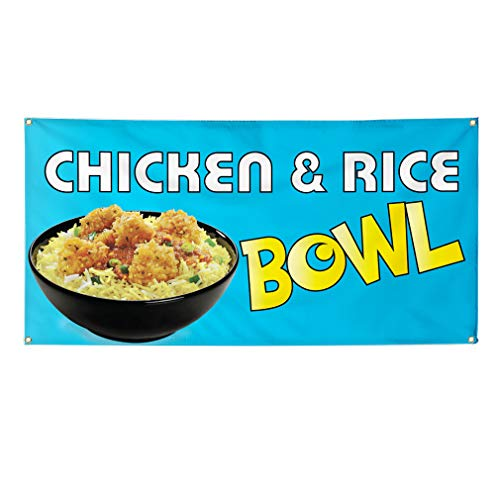 icken & Rice Bowl Restaurant & Food Marketing Advertising Blue - 48inx96in (Multiple Sizes Available), 8 Grommets, One Banner ()