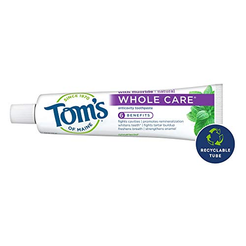 Tom's of Maine Whole Care Natural Toothpaste with Fluoride, Spearmint, 4 oz. 3-Pack (Packaging May Vary)
