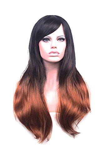 Nueva mujer marrón y negro gradiente largo ondulado peluca pelucas de extensiones de pelo accesorios para
