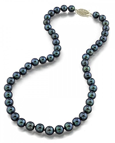 14K Gold 7.0-7.5mm Black Akoya Cultured Pearl Necklace - AA+ Quality, 24