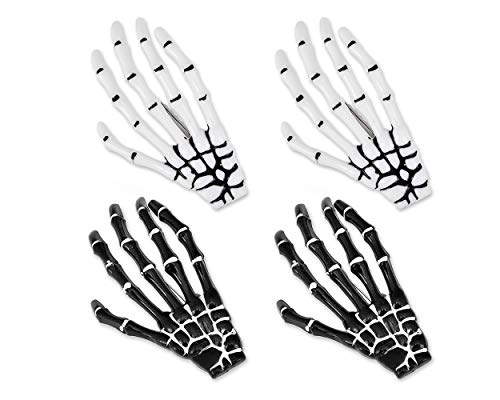 Ace Select 2 Pairs Korean Style Gothic Skeleton Hands Bone Hair Clips - Black and White Fashion Punk Rock Devil Claw Alligator Barrettes Women Girls Hair -