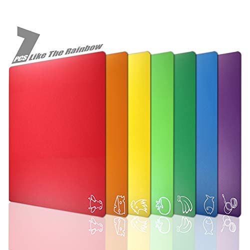 Cutting Board Mats Flexible Plastic Colored Mats With Food Icons, Lulii BPA-Free, Non-Porous, Anti-skid back and Dishwasher Safe, Set of 7