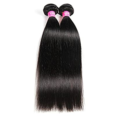 VRBest Hair Virgin Brazilian Straight Human Hair Extensions 3 Bundles Unprocessed Brazilian Virgin Hair Weave Bundles Natural Black Color