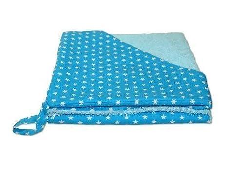 Rizo - Toalla con capucha toalla albornoz estrellas turquesa con nombre bordado Stoff: Sterne Türkis, Schrift: Marineblau: Amazon.es: Bebé