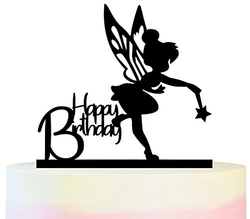 TC0059 Happy Birthday Tinkerbell Peter Pan Party Wedding Birthday Acrylic Cake Topper Cupcake Toppers Decor Set 11 pcs ()