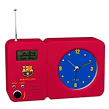 FC Barcelona Official Football Crest Radio With Clock (One Size) (Scarlet)