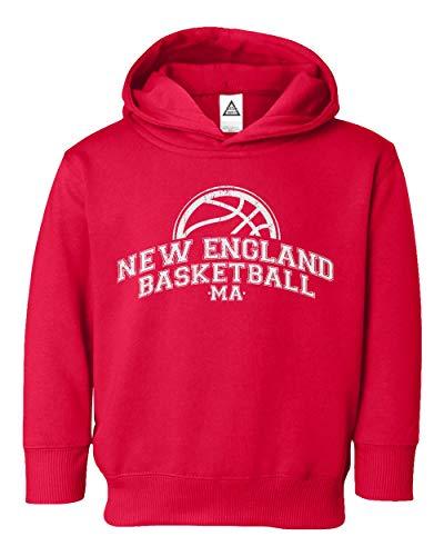 Sheki Apparel Basketball Fans New England Town Pride Little Kids Pullover Hoodie Toddler Sweatshirt (Red,2T)
