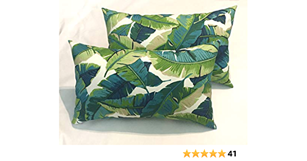 Amazon Com Rsh Décor Set Of 2 Indoor Outdoor Rectangle Lumbar Pillows Balmoral Opal Blue Green Palm Leaf Print Home Kitchen