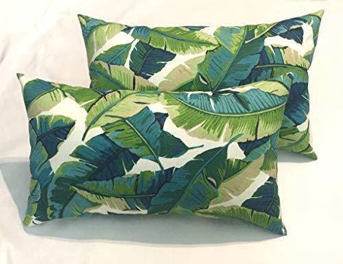 Set of 2 – Indoor Outdoor Rectangle Lumbar Pillows Blue Green Palm Leaf Print