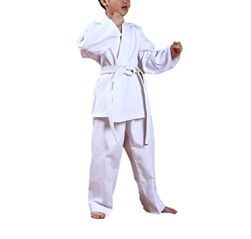 Kurop Sports White Martial Art Karate Uniform with White Belt for Kids (Cotton Drawstring Judo Pants)
