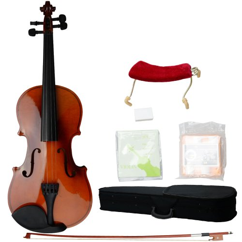 4/4 Full Size Acoustic Violin Solid Wood Violin with Hard Case, Shoulder Rest, Tuner, Bow, Rosin and Extra Strings