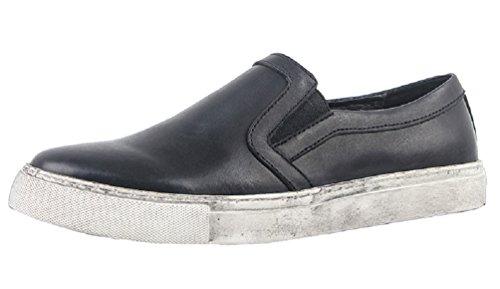 Santimon Menns Mote Sneaker Skinn Uformell Chelsea Loafers Slip-on Sko Svart
