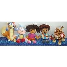 TY Beanie Babies - DORA & DEIGO Beanies ( Set of 5 ) (Dora, Diego, Swiper, Boots & Baby Jaguar)