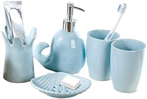 HXC-HXC セラミックバスウォッシュセット、ウェディングギフト用の口カップブラシカップセット、を含むソープディッシュ歯ブラシホルダータンブラーローションディスペンサーバスルーム Toothbrush Holder