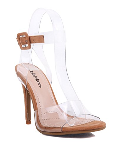 Fashion Sexy Clear Transparent Vamp Ankle Strap Buckle Sandals Womens 5 Stiletto High Heels Dress Shoes Tan PsJ2HFfT