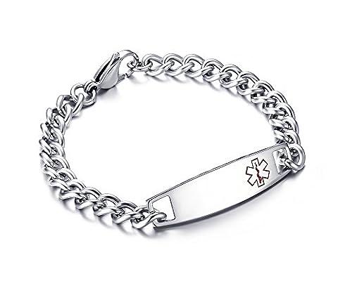 Customized Stainless Steel Medical Alert ID Bracelet for Men, Tone 8.5