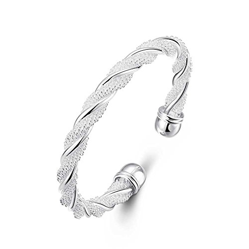 Lingduan Fashion 925 Sterling Silver Cable Wire Twisted Cuff Bangle Bracelets Set for Women ()