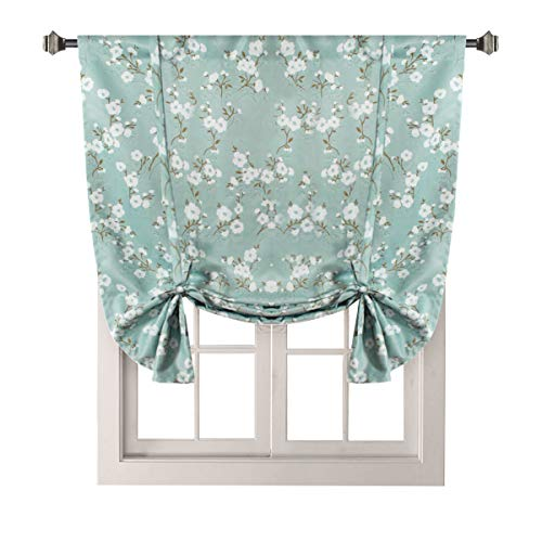 H.VERSAILTEX Traditional Window Drapes Aqua Floral Country Style Pattern Thermal Insulated Blackout Curtain for Living Room Rod Pocket Tie Up Shade Window Treatment Panel, W42 x L63 Inch ()