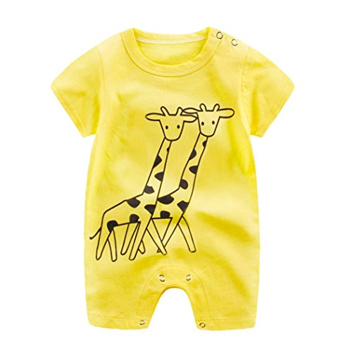 Vicbovo Clearance Sale!! Baby Infant Boy Girl Short Sleeve Cartoon Print Jumpsuit Romper Pajamas Clothes Summer Outfits (Yellow, 18-24M)